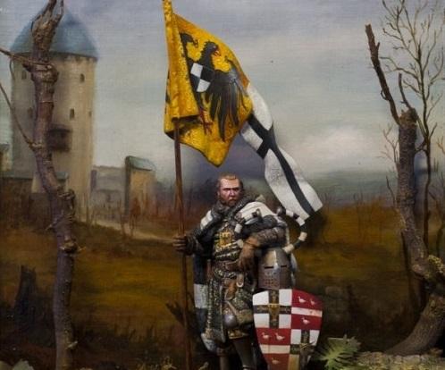 Винрих фон Книпроде на фоне крепости.